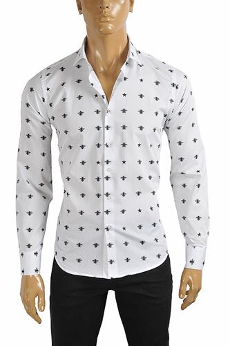 GUCCI Men's Dress shirt with bee print in white color 392