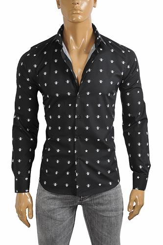 GUCCI Men's Dress shirt with bee print in black color 393