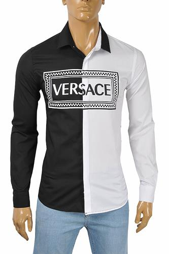 VERSACE Men's White and Black Dress Shirt 185